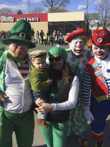 Meeting some clowns at the 2015 Bluemound St. Paddy's Parade.