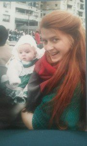 Me and my mom at the NYC St. Patrick's Parade, 1986.